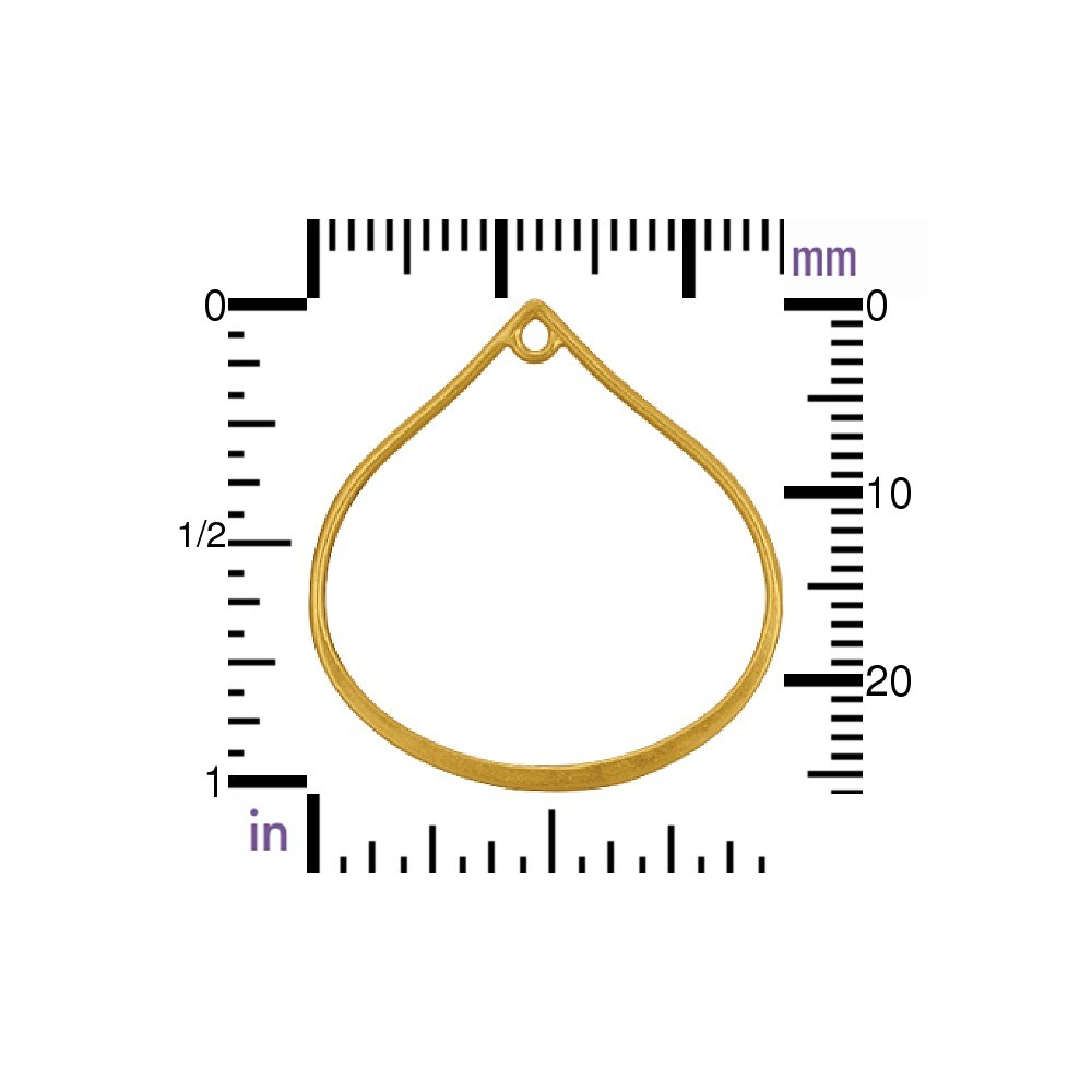 24K Gold Plate Wide Bottom Teardrop Link with Loop -25mm
