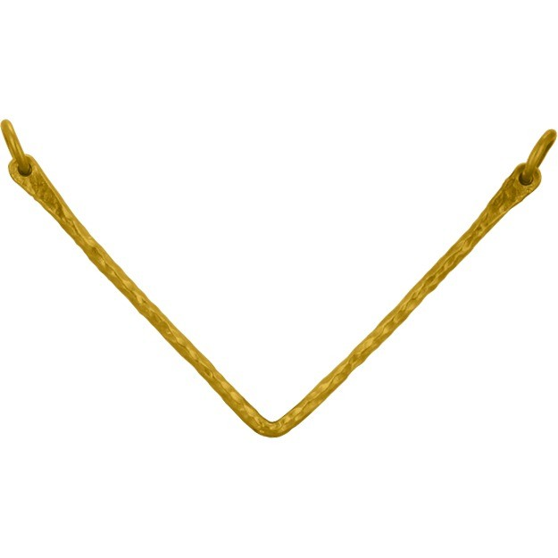 Jewelry Parts - Hammered Chevron Pendant in 24K Gold Plate