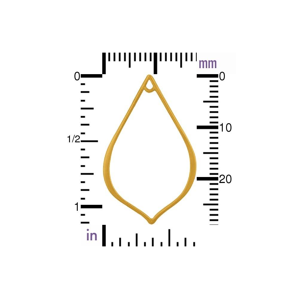 Med Pointed Teardrop Link in 24K Gold Plate 30x18mm