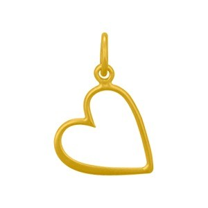 Gold Charm - Medium Open Heart with 24K Gold Plate 19x12mm