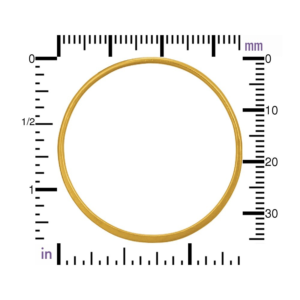 24K Gold Plated Half Hammered Circle Jewelry Link 36mm