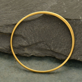 24K Gold Plated Half Hammered Circle Jewelry Link -36mm