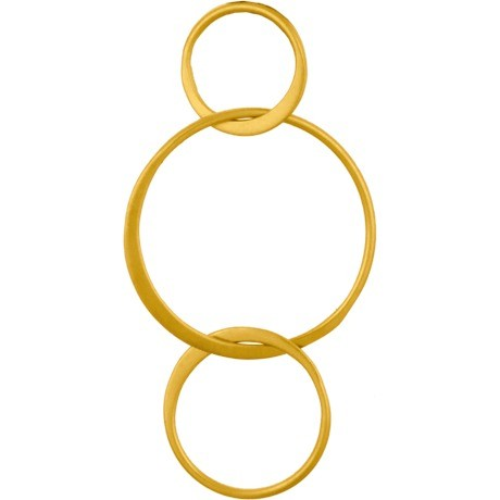 24K Gold Plated Three Circles Link 18x36mm