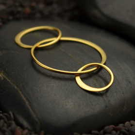Jewelry Supplies - Three Circles Link in 24K Gold Plate