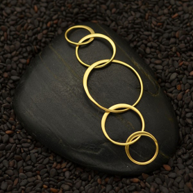 24K Gold Plate Five Circles of Life Link  18x55mm