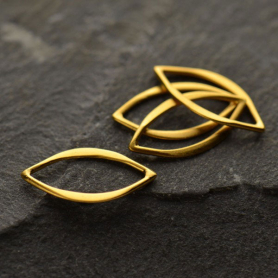 Jewelry Supplies Tiny Marquis Link in 24K Gold Plate