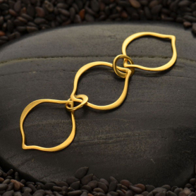Three Arabesque Link in 24K Gold Plate 12x43mm