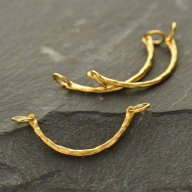 Jewelry Supplies - Hammered Curved Festoon in 24K Gold Plate