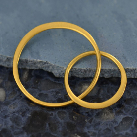 24K Gold Plate Two Circles of Life Link -27mm