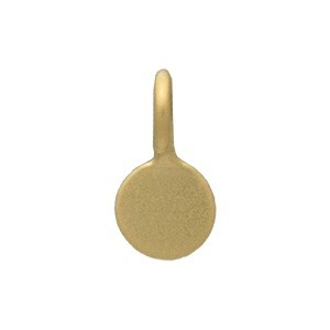 Gold Charm - Flat Circle Dangle with 24K Gold Plate 7x4mm