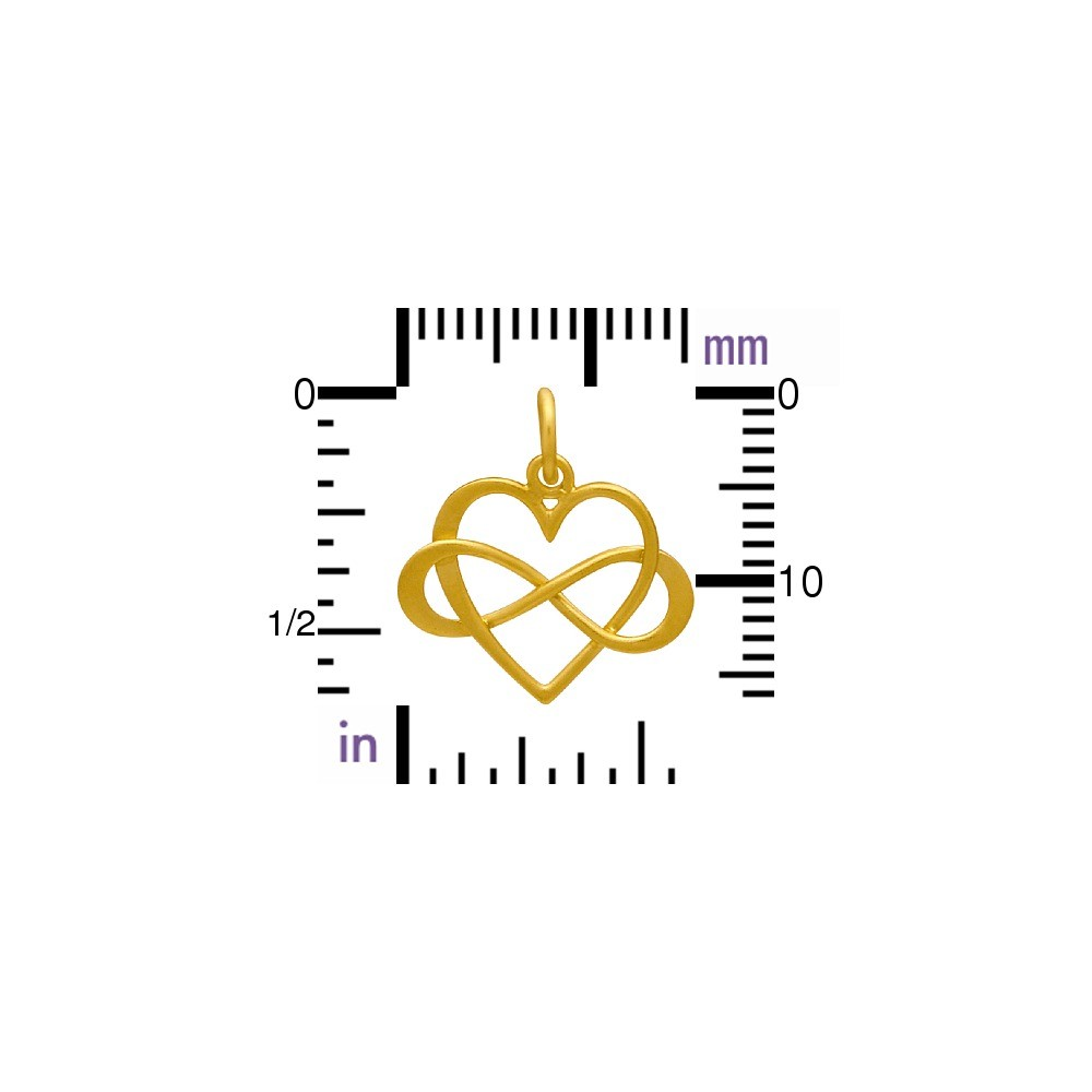 24K Gold Plated Medium Infinity Heart Charm 18x16mm