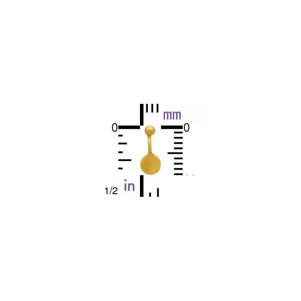 Gold Charm - Flat Circle Dangle with Granulation 9x4mm