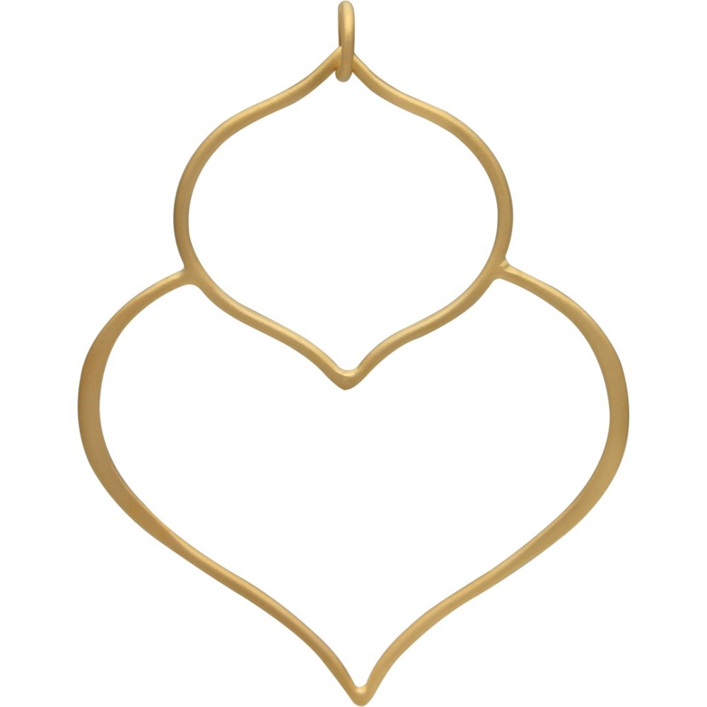 Gold Pendant -Large Double Lotus with 24K Gold Plate 48x36mm