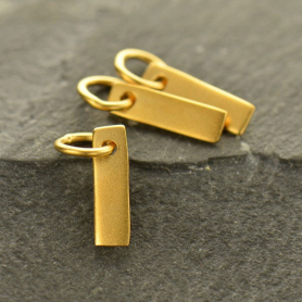 Gold Charm - Tiny Rectangle with 24K Gold Plate DISCONTINUED