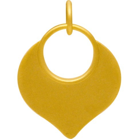 Gold Charm - Flat Lotus Petal with 24K Gold Plate 22x15mm