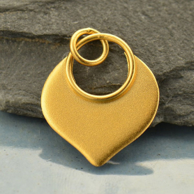 Gold Pendant - Flat Plate Lotus Petal with 24K Gold Plate