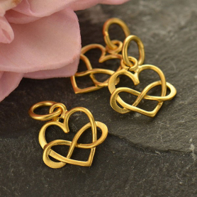 24K Gold Plated Tiny Infinity Heart Charm 14x10mm