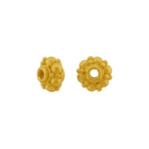 24K Gold Plated Spacer Bead with Granulation 7x5mm