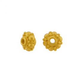 Gold Spacer Bead with Granulation in 24K Gold Plate