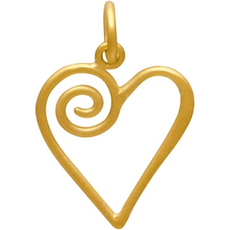 Gold Charms - Open Heart with Swirl in 24K Gold Plate