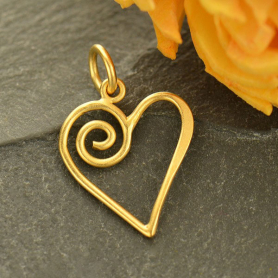 Gold Charm - Open Heart with Swirl in 24K Gold Plate 21x13mm