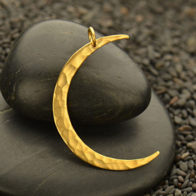 Gold Pendant - Lg Moon with Hammered Finish in 24K Gold
