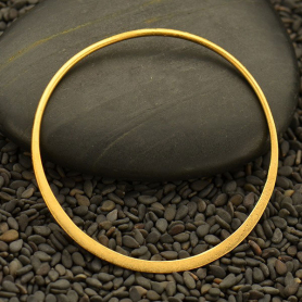24K Gold Plated Half Hammered Circle Jewelry Link -43mm