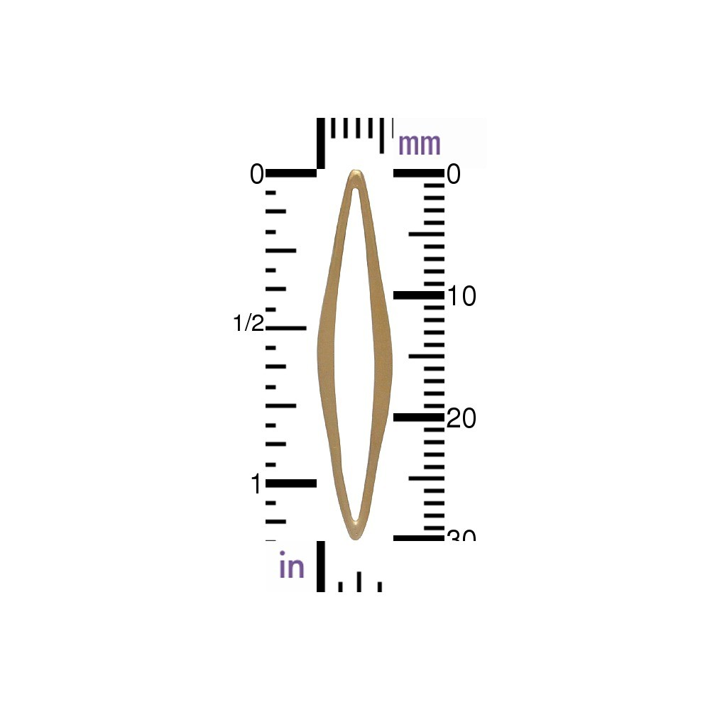 24K Gold Plated Medium Skinny Marquis Link 30x6mm