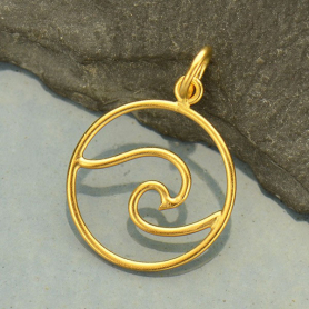 Gold Pendant - Openwork Wave with 24K Gold Plate 21x15mm