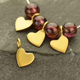 Gold Charms - Tiny Heart Dangle with 24K Gold Plate 8x5mm