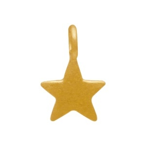 Gold Charms - Tiny Flat Star Dangle with 24K Gold Plate -8mm