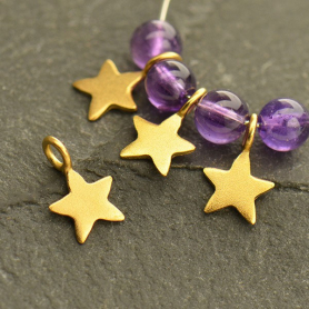 Gold Charm - Tiny Flat Star Dangle with 24K Gold Plate 8x5mm