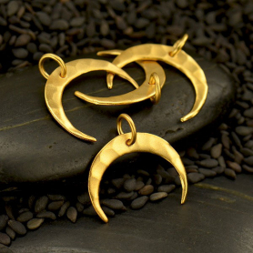 24K Gold Plated Hammered Crescent Moon Charm 16x16mm