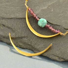Jewelry Part - Crescent Link with Two Holes in 24K Gold Plat