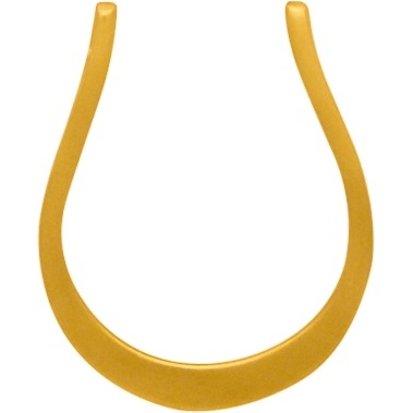 Horseshoe Link with Two Holes with 24K Gold Plate 16x13mm