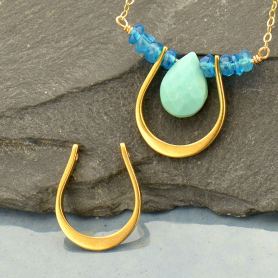 Jewelry Part - Horseshoe Link with Two Holes with 24K Gold P