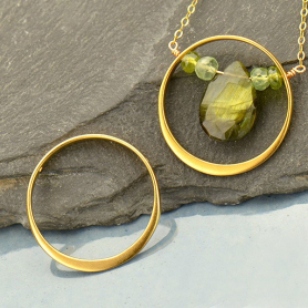 Jewelry Parts - Circle Frame with Two Holes with 24K Gold Pl