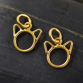 Cat Face Charm in 24K Gold Plate 14x9mm