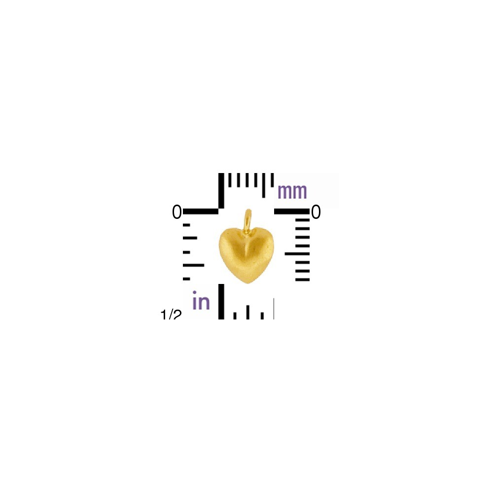 Gold Charm - Tiny Puffed Heart with 24K Gold Plate