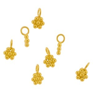 Gold Charm - Granulated Flower with 24K Gold Plate 6x4mm