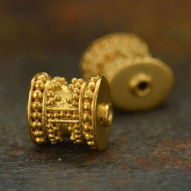 24K Gold Plated Bead - Barrel Shape with Granulation 7x8mm