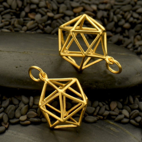 Gold Pendant - 3D Wire Icosahedron in 24K Gold Plate 21x15mm