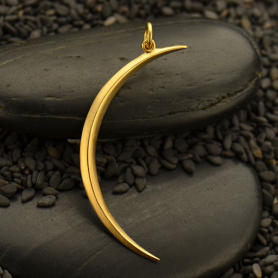 Gold Pendant - Skinny Ridged Moon with 24K Gold Plate