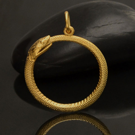 Gold Pendant - Ouroboros Snake in 24K Gold Plate 26x21mm