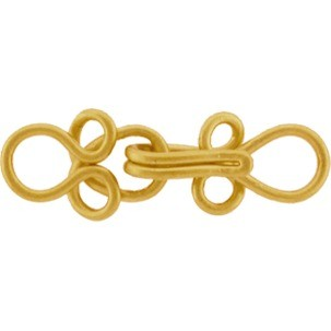 Gold Clasp - Small Hook and Eye in 24K Gold Plate 25x10mm