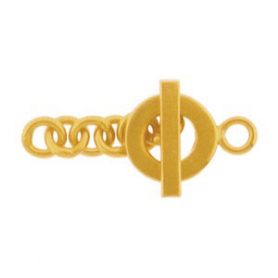 Gold Clasp - Square Bar Toggle with 24K Gold Plate