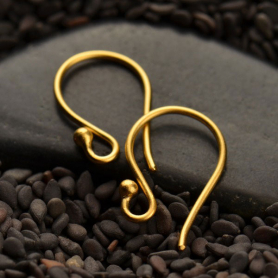 Gold Ear Hook - Simple with Ball in 24K Gold Plate 16x9mm