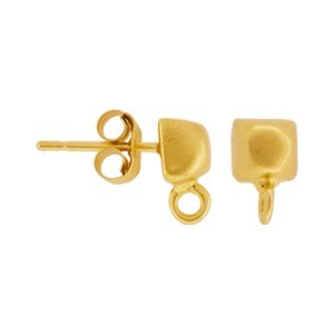 Gold Stud Earring Part -Faceted Cube in 24K Gold Plate 9x5mm