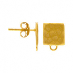 Gold Stud Earring Part - Hammered Square in 24K Gold Plate