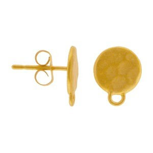 24K Gold Plated Stud Earring Part - Hammered Circle 10x8mm